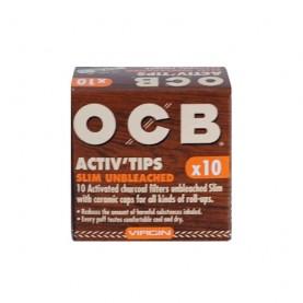 Uhlíkové filtre OCB Activ Slim Unbleached 7mm 10 kusov