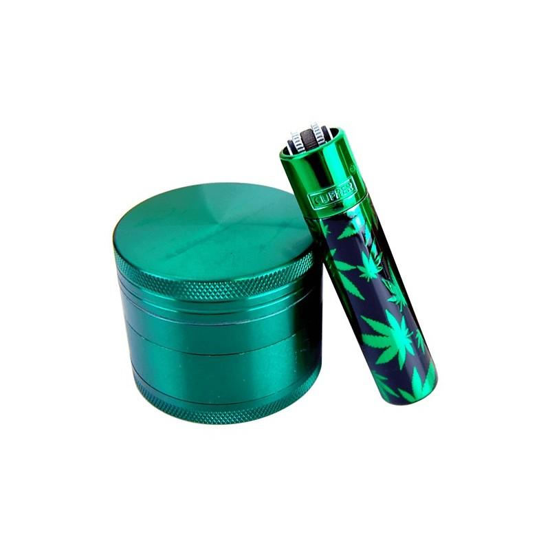Grinder Set Smoke: Drvička Smoke + Kovový Clipper Leaf
