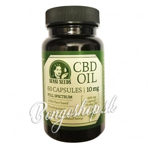 CBD olejové kapsule od Senzi seeds vo fľaštičke