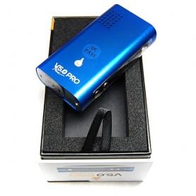 Vaporizér Flowermate V5.0 Pro mini/blue položený na otvorenej krabičke od vaporizéru