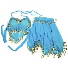 Brušné tance - top a sukňa (modrá)