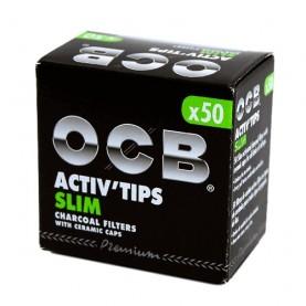 Uhlíkové fitre OCB Activ Slim 7mm 50 kusov