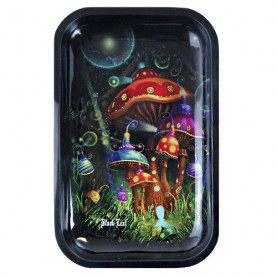 Magic Mushroom Black Leaf Roll Tray (M) kovová