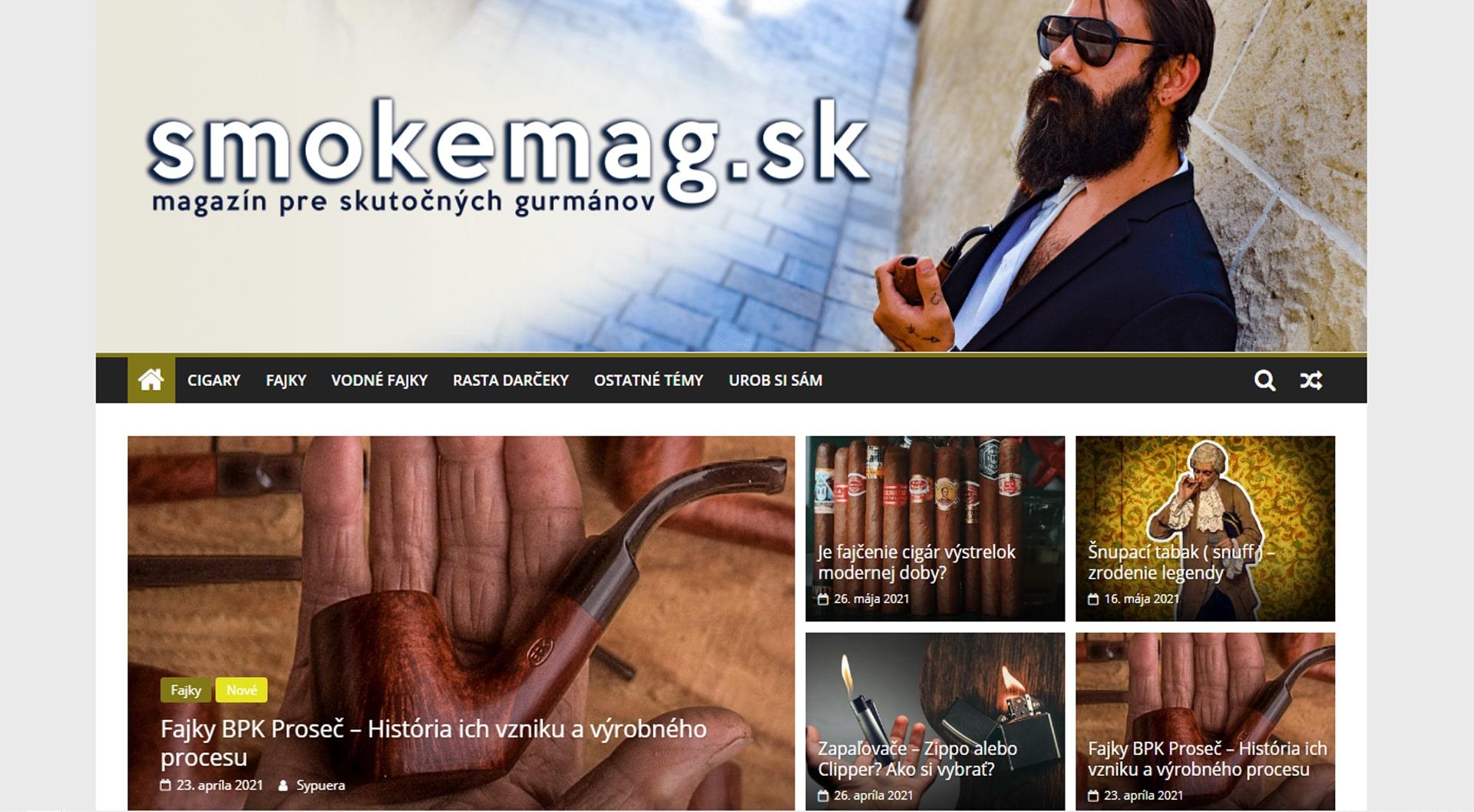 Náhľad webu www.smokemag.sk