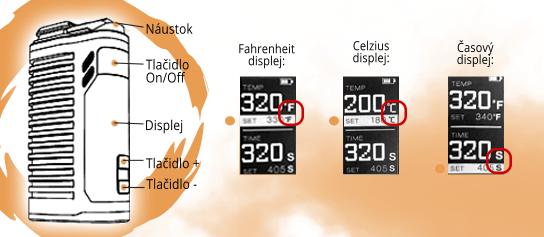 popis vaporizéru Fenix 2.0 a displej