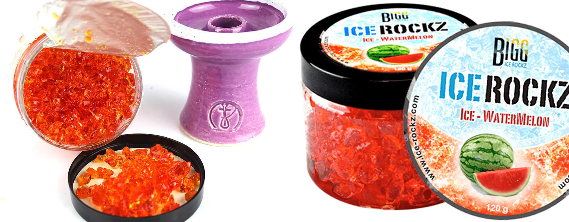 Kamienky do vodnej fajky ICE Rockz: balenie, detailný pohľad a korunka na vodnú fajku typu phunnel