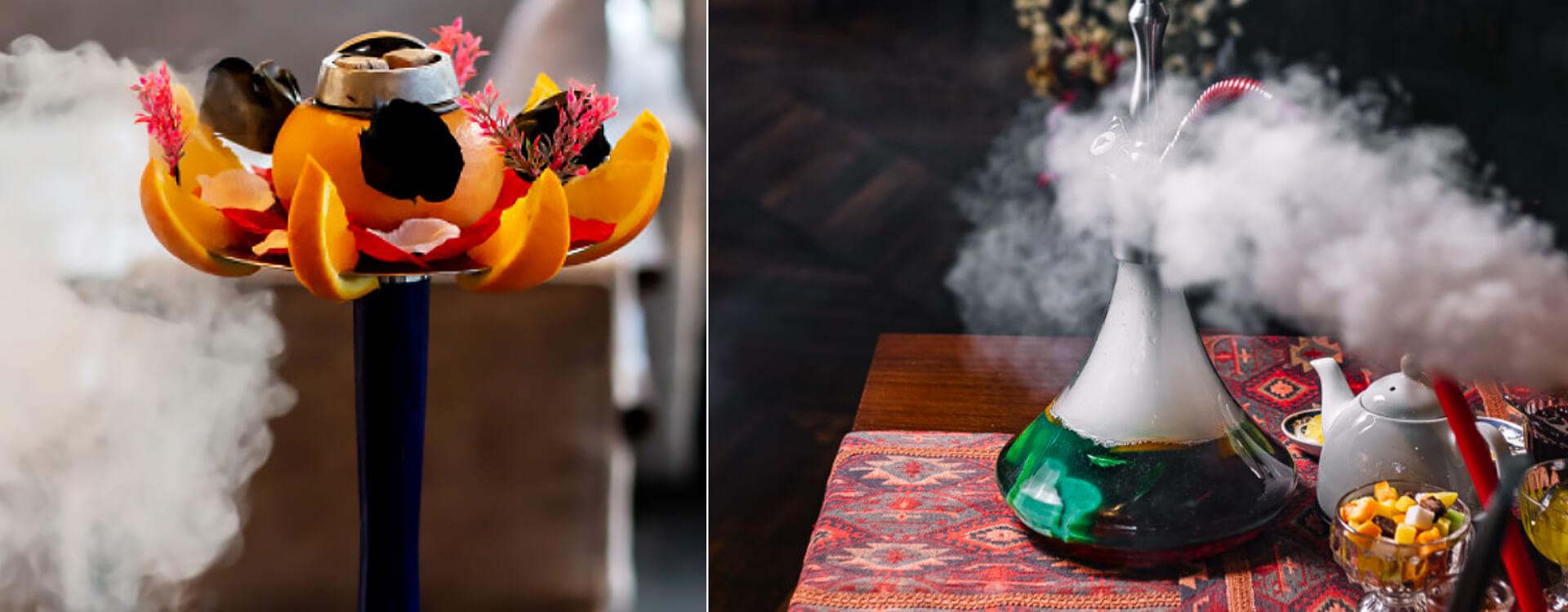 Vodná fajka - ilustračné obrázky: korunka vodnej fajky dekorovaná ovocím a kvetmi, stôl s rozloženou vodnou fajkou, ovocím a čajom